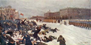 Bloody Sunday 1905. Protesters are fired on by the tsar's guards